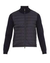 Moncler | Blue Cardigans High-neck Down Jacket for Men | Lyst