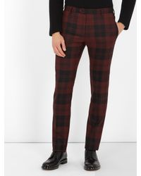 Valentino - Multicolor Checked Slim-leg Wool Trousers for Men - Lyst