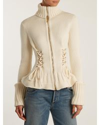 Alexander McQueen - White Lace-up Side Wool Knit Cardigan - Lyst