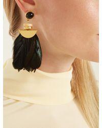 Lizzie Fortunato - Green Eagle Feather-drop Earrings - Lyst
