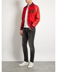 Gucci Red Chenille-appliqué Wool And Leather Bomber Jacket for men