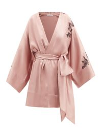 Carine Gilson レーストリム クロップド シルクサテンナイトガウン Pink