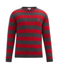 メンズ Loewe アナグラム ボーダーセーター Red