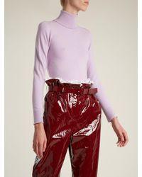 Joos Tricot Purple Roll-neck Fine-knit Sweater