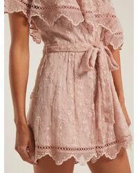 Zimmermann Pink Castile Embroidered Silk Chiffon Playsuit