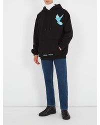 Off-White c/o Virgil Abloh Black Not Real Dove-print Hooded Cotton Sweatshirt for men