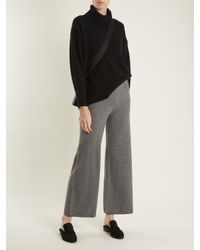 Joseph - Gray Wide-leg Cashmere Trousers - Lyst
