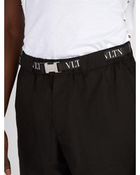 Valentino - Black Short en coton à ceinture et imprimé logo for Men - Lyst