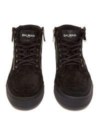 Baskets montantes zippées en daim Balmain pour homme en coloris Black