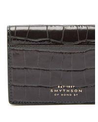 Smythson Green Crocodile Effect Leather Cardholder for men
