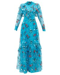 Erdem ホレーシャ オーガンザドレス Blue