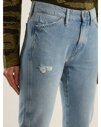 MiH Jeans Blue Cult Distressed Mid Rise Straight Leg Jeans