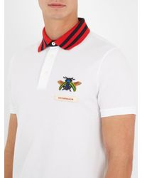 Gucci White Beetle-appliqué Cotton-piqué Polo Shirt for men