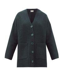 Acne Green Kanita Side-slit Wool-blend Cardigan