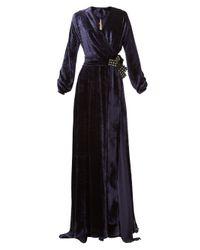 Maria Lucia Hohan Kamelia リボン ベルベットラップドレス Black