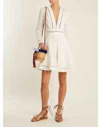 Zimmermann - White Ryker Embroidered-cotton And Silk-blend Dress - Lyst