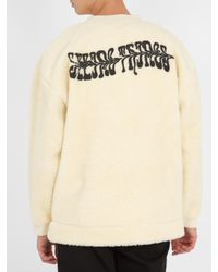 Off-White c/o Virgil Abloh Natural Text-print Faux-shearling Sweatshirt for men