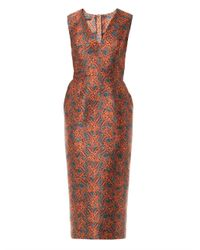 Rochas Brown Star Fish Fitted Dress