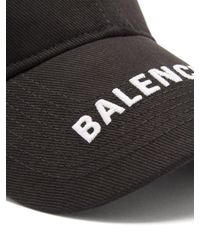 メンズ Balenciaga コットンツイル ベースボールキャップ Black