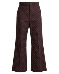Chloé Multicolor Embroidered Dot Cotton Trousers