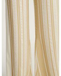 Zeus + Dione Natural Alcyone Striped Silk-blend Trousers