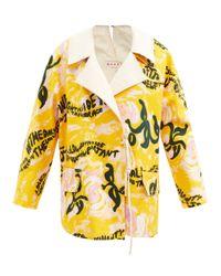 Marni タイフロント フローラル コットンキャンバスジャケット Yellow