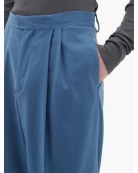 メンズ Bottega Veneta ワイドレッグ カシミアツイルパンツ Blue
