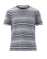 メンズ Albam ハリソン ボーダーコットンtシャツ Blue