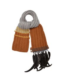 Prada - Gray Feather-trim Wool Scarf - Lyst