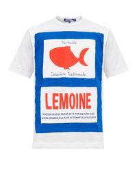 T-shirt en coton à imprimé poisson Junya Watanabe pour homme en coloris White