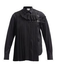 Noir Kei Ninomiya プリーツパネル コットンポプリンシャツ Black