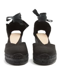 Castaner Black Chiara Canvas Wedge Espadrilles