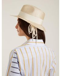 Max Mara Natural Gem Faux Pearl Embellished Straw Hat