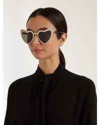 Saint Laurent Metallic Loulou Heart-shaped Metal Sunglasses