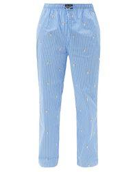メンズ Polo Ralph Lauren ベアエンブロイダリー コットンポプリンパジャマパンツ Blue