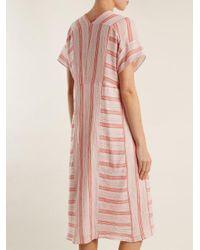 MASSCOB Pink V-neck Striped Cotton Dress