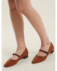 AlexaChung Brown Point-toe Faille Flats