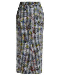 Vivienne Westwood Anglomania - Black - Gingham And Print Pencil Skirt - Womens - Navy Multi - Lyst
