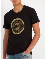 Balmain Black Circular Logo-print Cotton T-shirt for men
