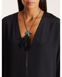 Lanvin - Multicolor Jewel And Feather Necklace - Lyst