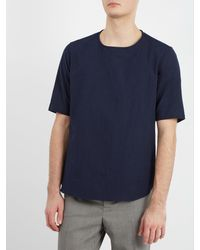 De Bonne Facture Blue Crew-neck Short-sleeve Linen-blend Top for men
