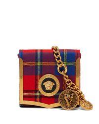 Versace Red Medusa Coin Tartan Belt Bag