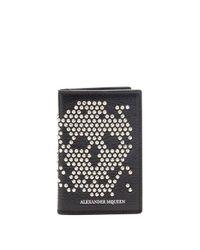 Alexander McQueen - Black Studded Skull Bi-fold Leather Cardholder - Lyst