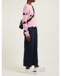 Prada Blue Turn-up Cuff Cotton Trousers