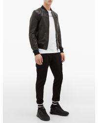 メンズ Dolce & Gabbana レザー ボンバージャケット Black