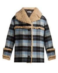 Miu Miu Blue Plaid Wool Blend And Shearling Coat