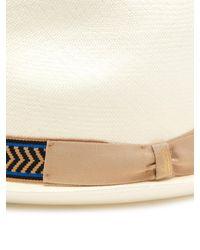 Panama en paille à ruban en gros-grain Borsalino pour homme en coloris White
