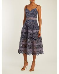 Self-Portrait - Gray Floral Embroidered Cut-out Midi Dress - Lyst