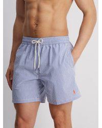 Polo Ralph Lauren Blue Striped Cotton-blend Seersucker Swim Shorts for men