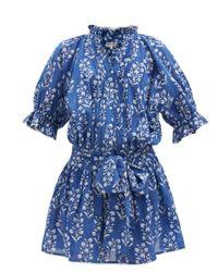 Juliet Dunn フローラル コットンミニドレス Blue